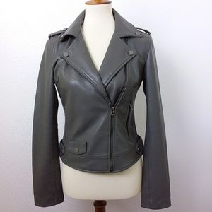 Lucky Brand Faux Leather Zip Crop Moto Jacket Gray